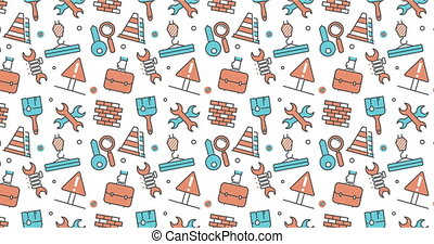 modern seamless texture background of flat job, work Items...