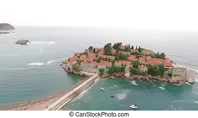 Sveti Stefan Island, aerial photography. Montenegro, the...