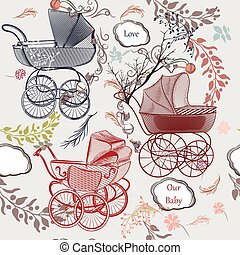 Baby fashion background with plams, flourishes in vintage style.eps