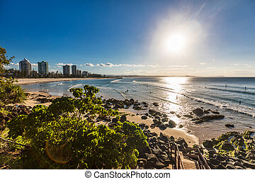 Greenmount beach during sunset on Queensland's Gold Coast,...