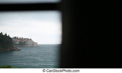 Island of Sveti Stefan, close-up of the island in the...