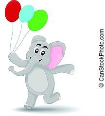 elephant with ballon - cartoon elephant walking happy...