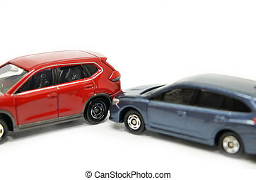 Car insurance concept - Cars accident crash isolated on...