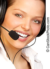CALL CENTER - Business woman with headset. Isolated over...