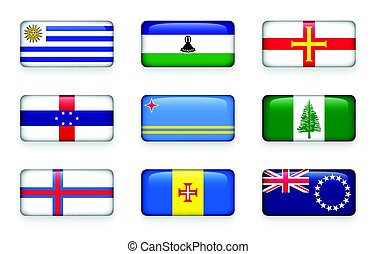 Set of world flags rectangle buttons ( Uruguay . Lesotho ....