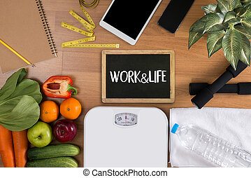 Composition with vegetables and work and life balance concept