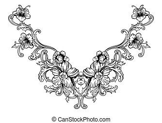 Floral neck embroidery design in Baroque Style. Independent...