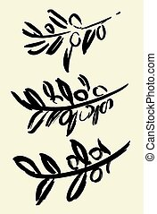 Set ink hand drawn olive tree branches vector - Set of ink...