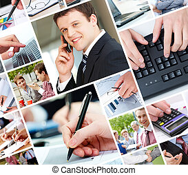Modern business - Collage of technology in business, white...