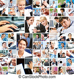 Business moments - Collage with businesspeople at work and...