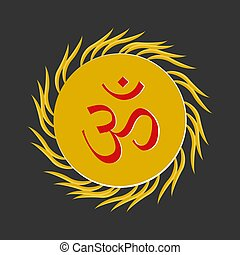 Aum , a Hindu religious symbol symbolizing the sound of the...