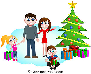 Family on Christmas Morning - This vector illustration...