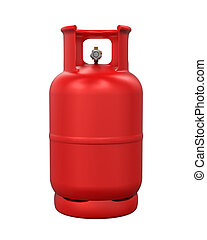 Red Gas Cylinder Isolated - Red Gas Cylinder isolated on...
