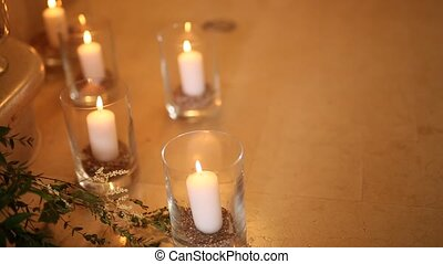 Candles in glass lamps. Wedding decorations. Wedding in Monteneg