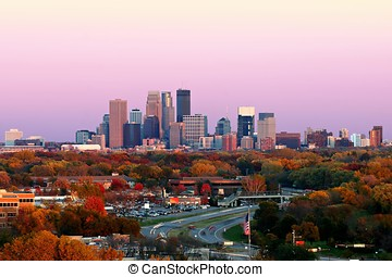 Minneapolis Skyline during Autumn at Sunset from Plymouth,...