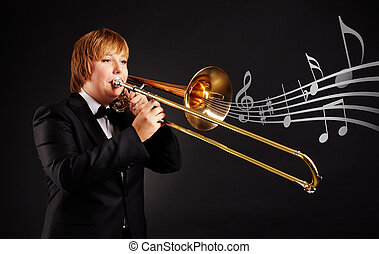 Trombonist - Portrait of young female playing the trombone...