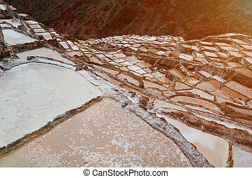 Pools with salt water in Salineras Peru. Tourist place in...