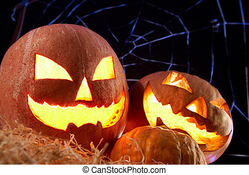 Halloween gourds - Image of Halloween jack o?lanterns with...