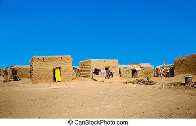 hut made of loam in Omdourman, Sudan.