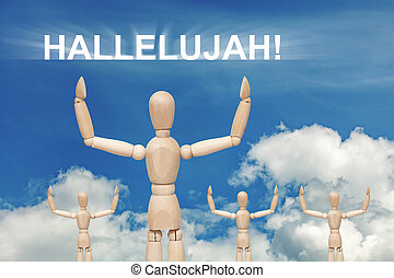 Wooden dummy puppet on sky background with word HALLELUJAH....