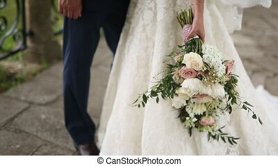 Wedding bridal bouquet of roses, lisianthus, lavender,...