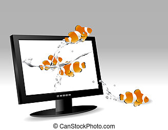 Vector illustration - frontal view of widescreen lcd...