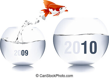 Vector illustration of new year concept 2010