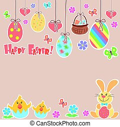 Easter Background with cute rabbit, colorful eggs and a chick, place for text, vector illustration