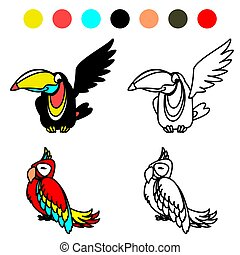 coloring picture of funny parrot,vector illustration