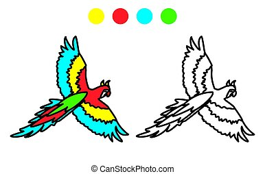coloring picture of funny parrot