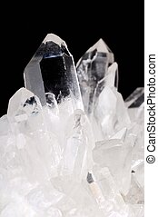 Quartz crystals on black background
