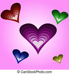 colored hearts on a purple background