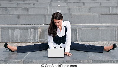 Flexible business - woman with laptop