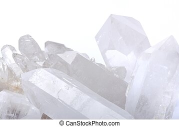 Quartz crystals on white - Quart crystals - semiprecious gem...