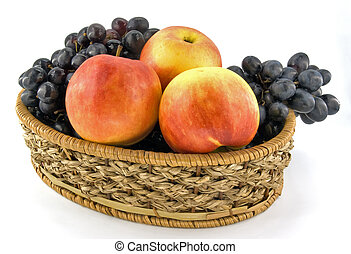fruits in woodem lug-box on white background