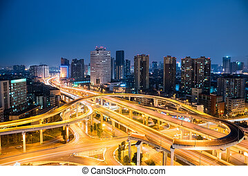 chengdu overpass at night