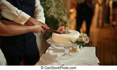 Wedding tradition - the cutting of the wedding cake bride and gr