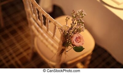 Chairs at the wedding banquet. Wedding decorations. Wedding...