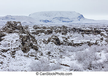 Winter landscape Dimmuborgir Lake Myvatn, Iceland - Winter...