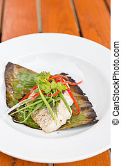 grilled Sea Bass fillet with leek and chili