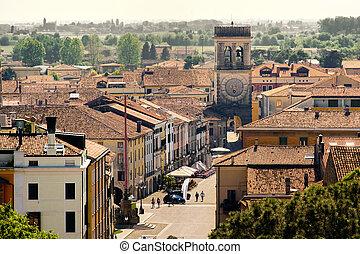 町,  Este, 州, 地域, イタリア,  Veneto,  Padua, 村, 航空写真, タワー