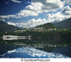 natural landscape at geirangerfjord . Norway mountain
