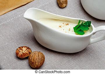 Bechamel sauce and ingridients - Traditional bechamel sauce...