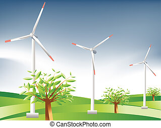 Vector illustration of Wind Turbines