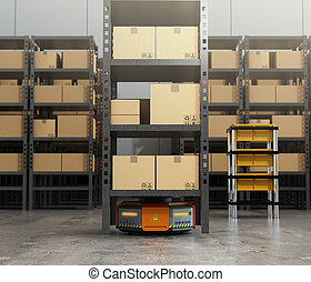 Orange robot carrying pallet with goods