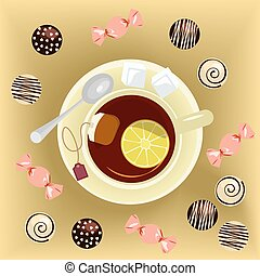 Cup of tea and sweets banner. Top view vector illustration...