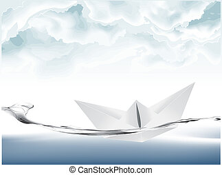 Vector illustration of White Paper boat