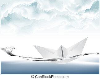 Vector illustration of White Paper boat .