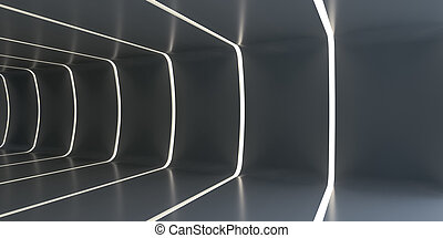 Dark abstract futuristic tunnel. Light strips divide the...