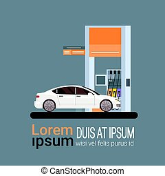 Car Fueling At Gas Petrol Station Flat Vector Illustration
